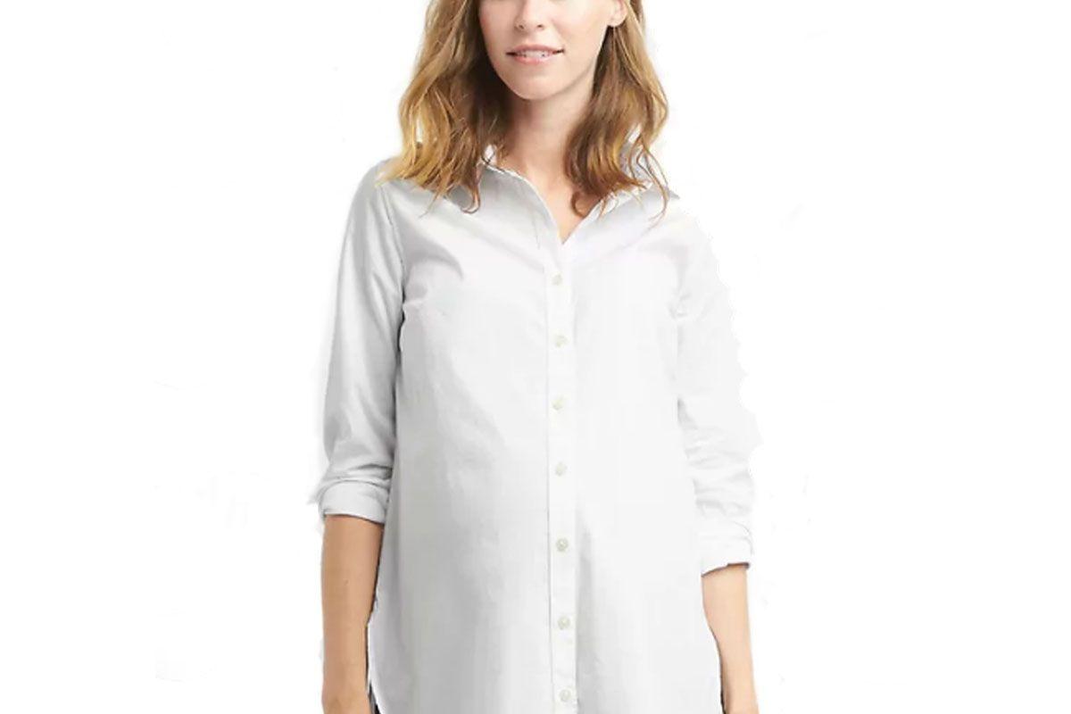 Maternity Tailored Poplin Tunic Shirt