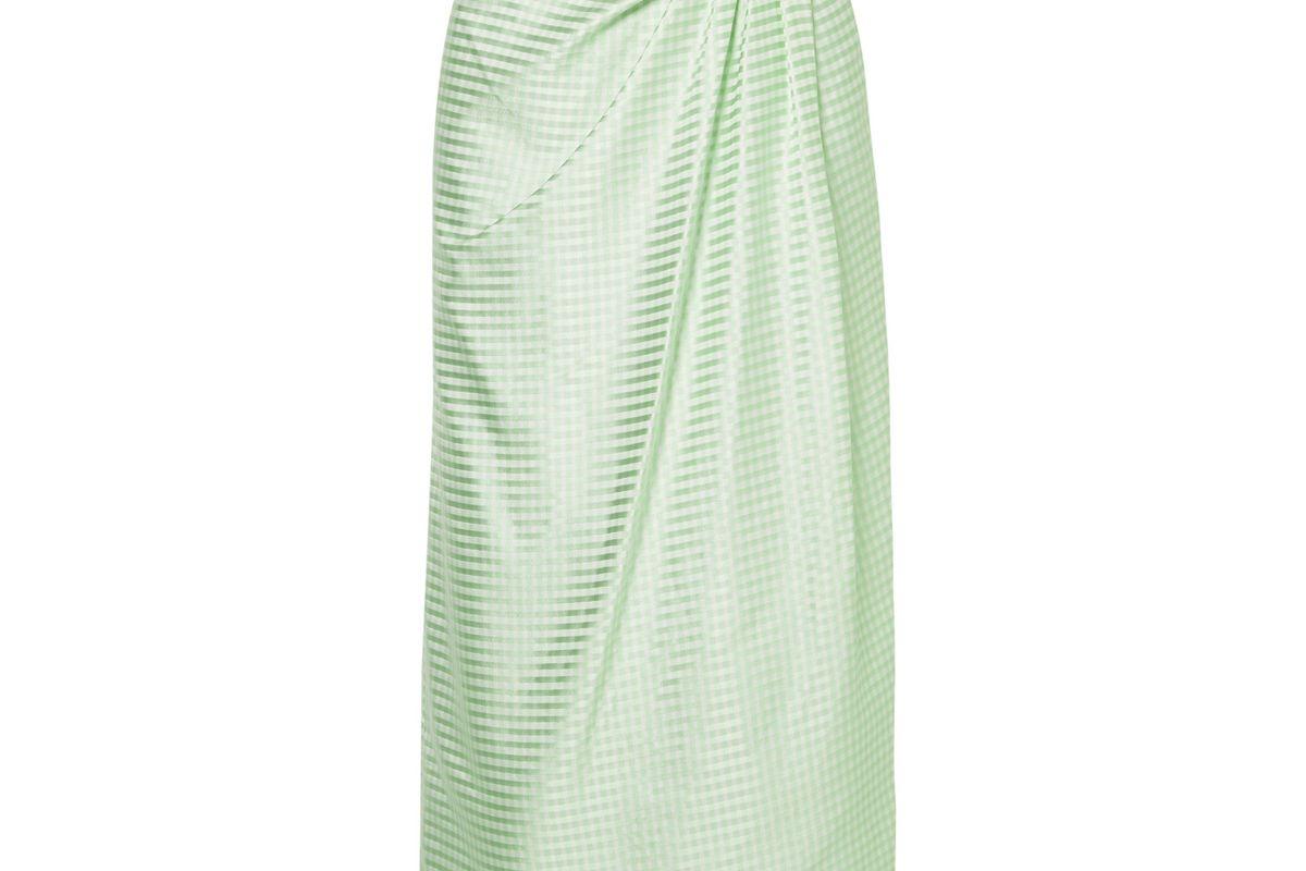 carolina herrera gathered gingham silk satin jacquard midi skirt