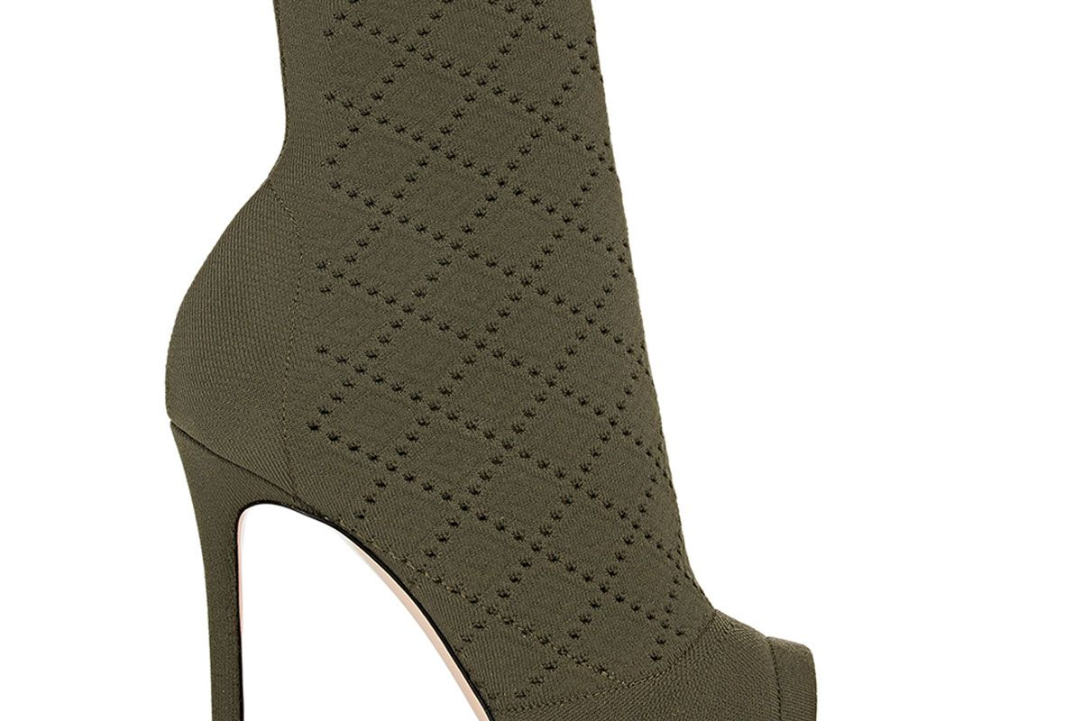 gianvito rossi perforated knit ankle booties