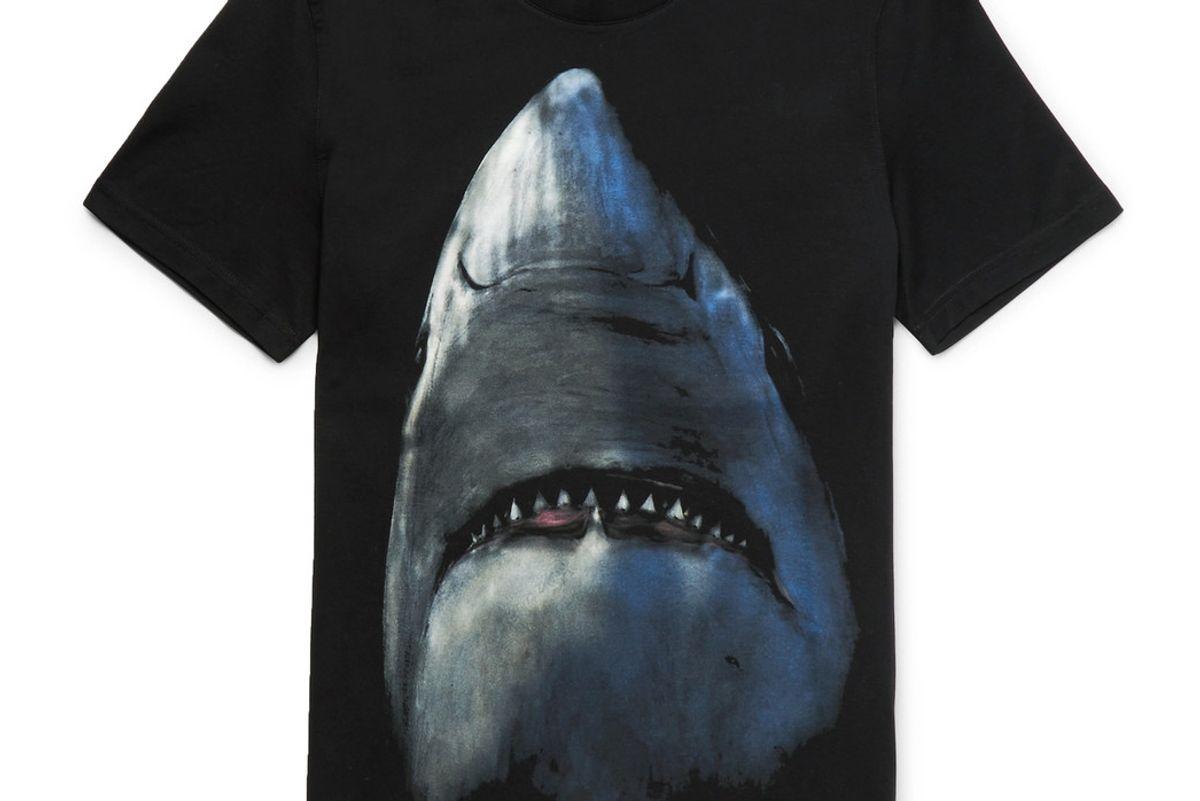 Cuban-Fit Shark-Print Cotton-Jersey T-Shirt