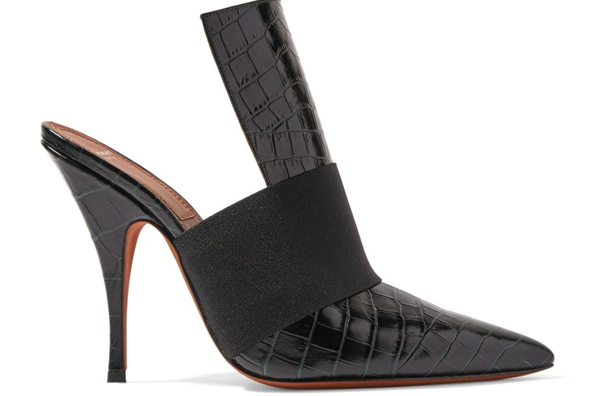 givenchy elastic trimmed croc effect leather mules