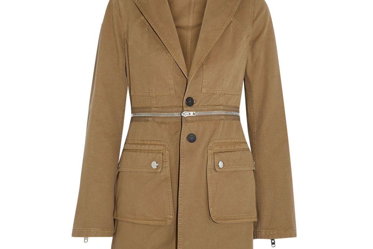 givenchy zip detailed cotton twill blazer