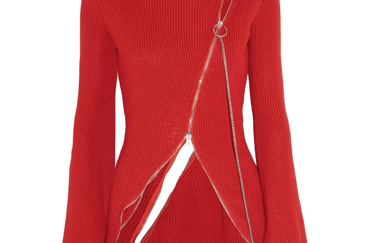 Zip-Detailed Ribbed Cotton-Blend Sweater