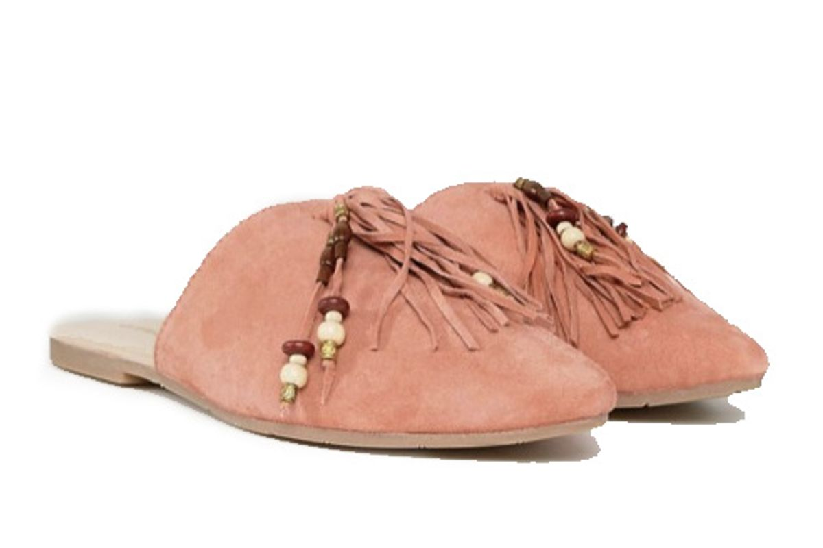 Pink Tassle Flat Mules