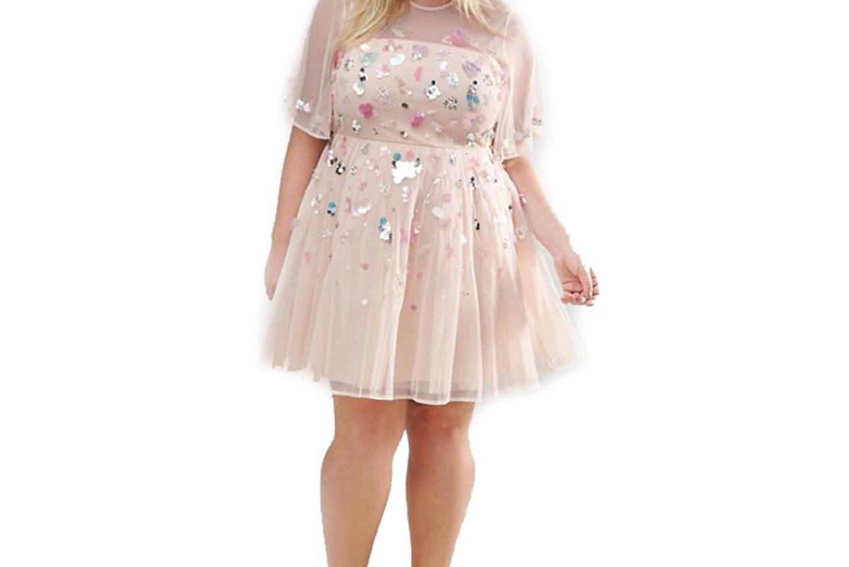 Curve Donna Sequin Embellished Mesh Skater Mini Dress