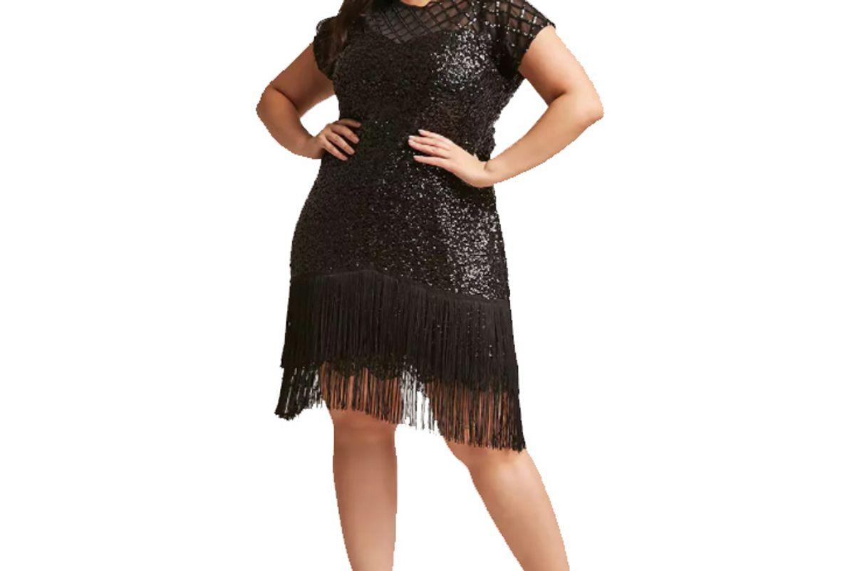 Plus Size Unique Vintage Fringe Sequin Dress