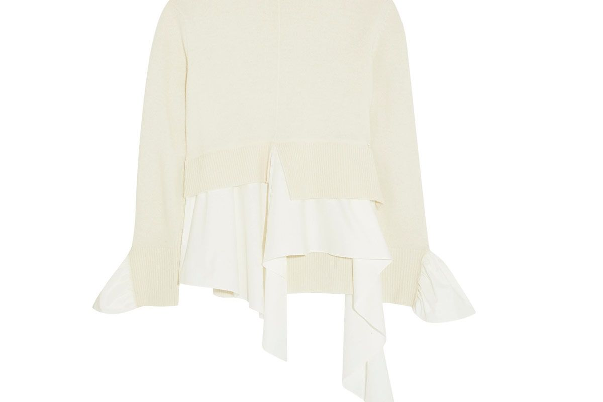 Cotton-Paneled Wool and Cashmere-Blend Turtleneck Sweater