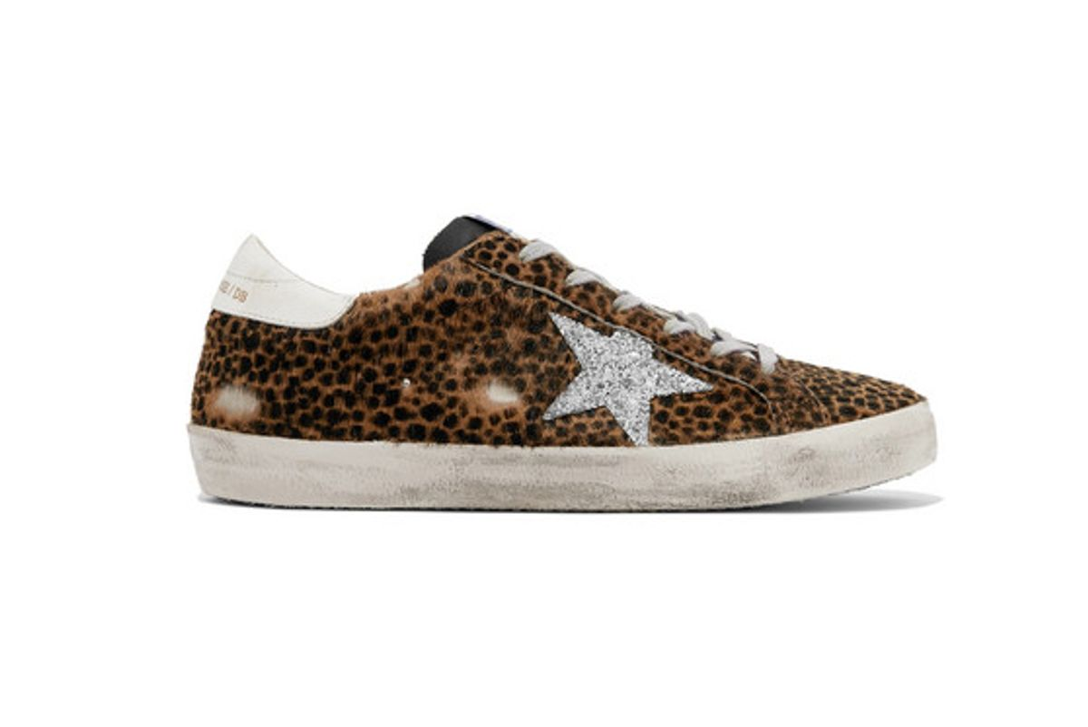 golden-goose-deluxe-brand-superstar-glittered-leather-and-distressed-leopard-print calf hair sneakers