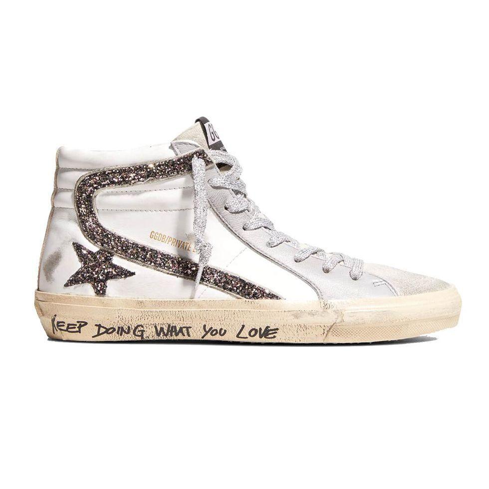 golden goose slide mid top glitter script sneaker
