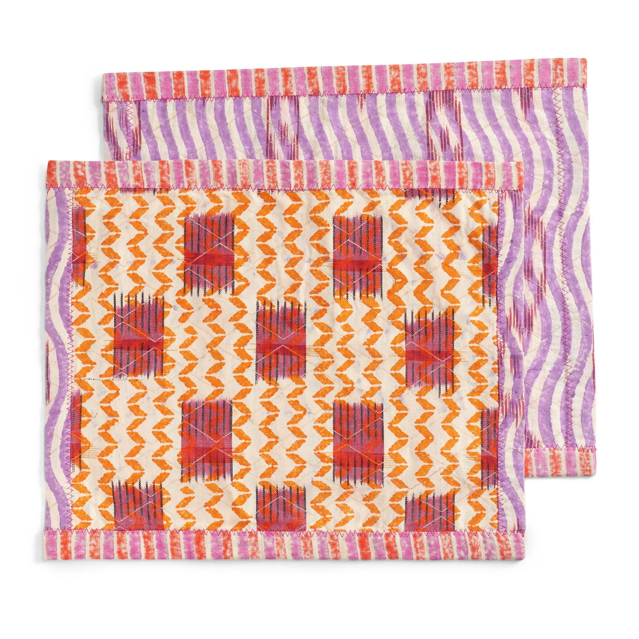 gregory parkinson zig zag vibrant embroidered and hand block printed placement