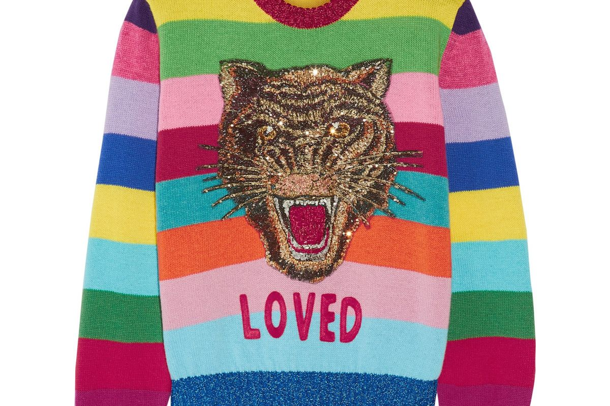 Appliquéd Sequined Striped Wool Sweater