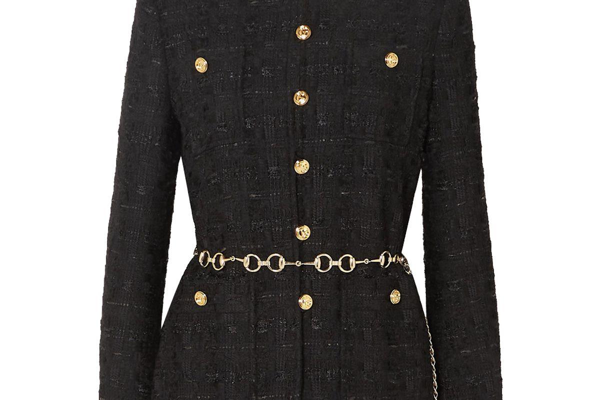 gucci belted button embellished tweed jacket