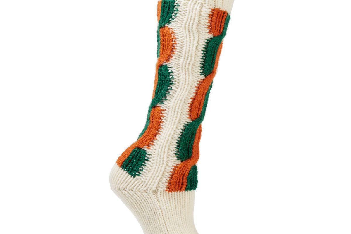 gucci striped cable knit wool socks