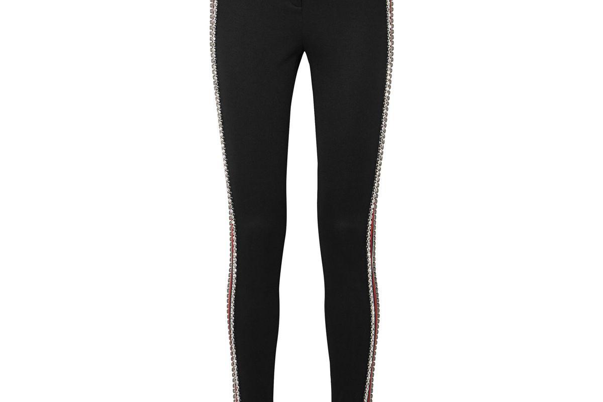 gucci crystal embellished striped tech jersey stirrup leggings