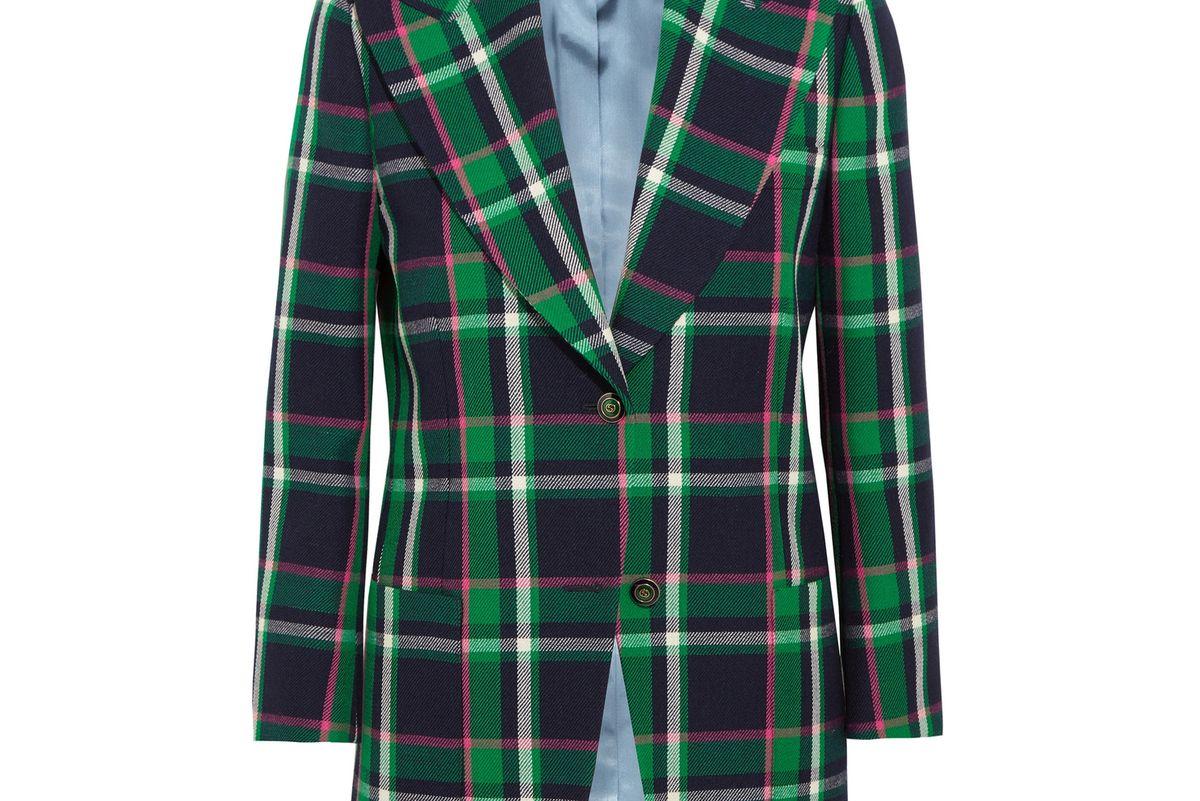 Embellished Tartan Wool Blazer