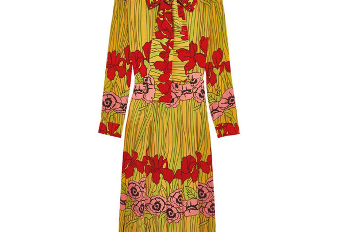 Floral-Print Silk Crepe de Chine Dress