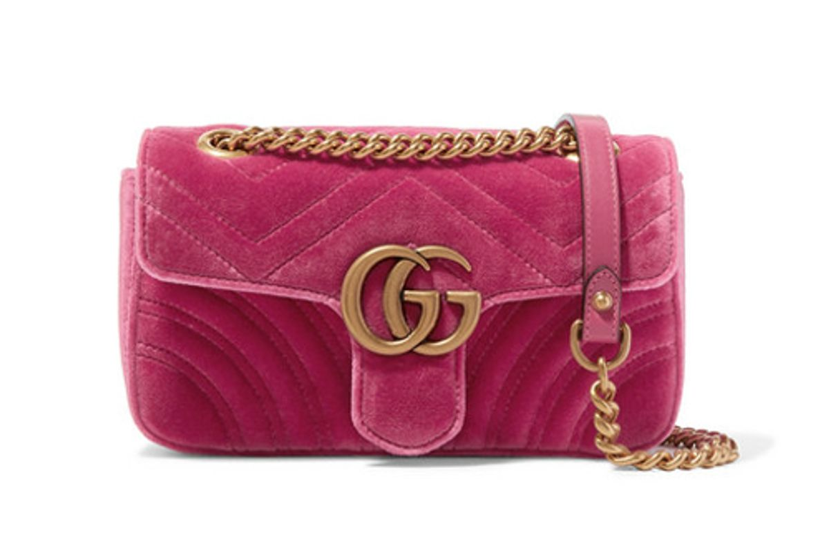 gucci gg marmont mini quilted velvet shoulder bag