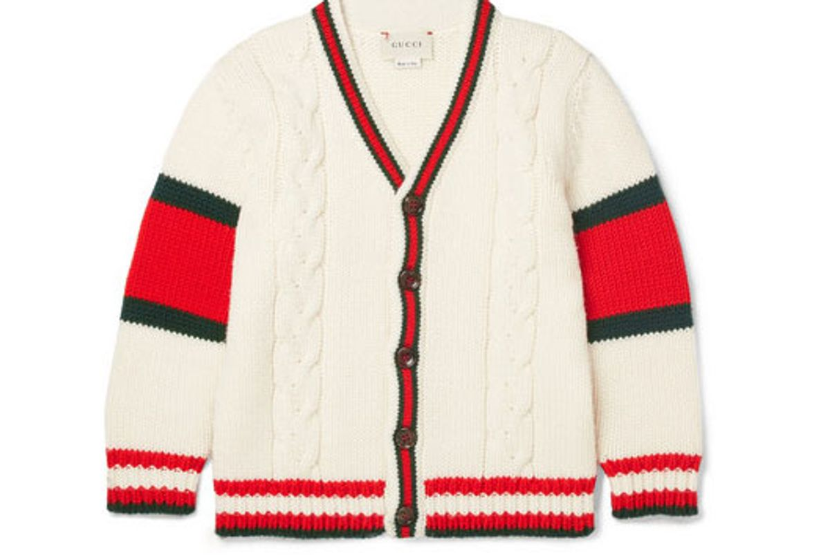 gucci kids striped cable knit wool cardigan