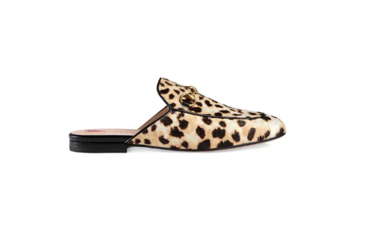 gucci leopard princetown pony mules