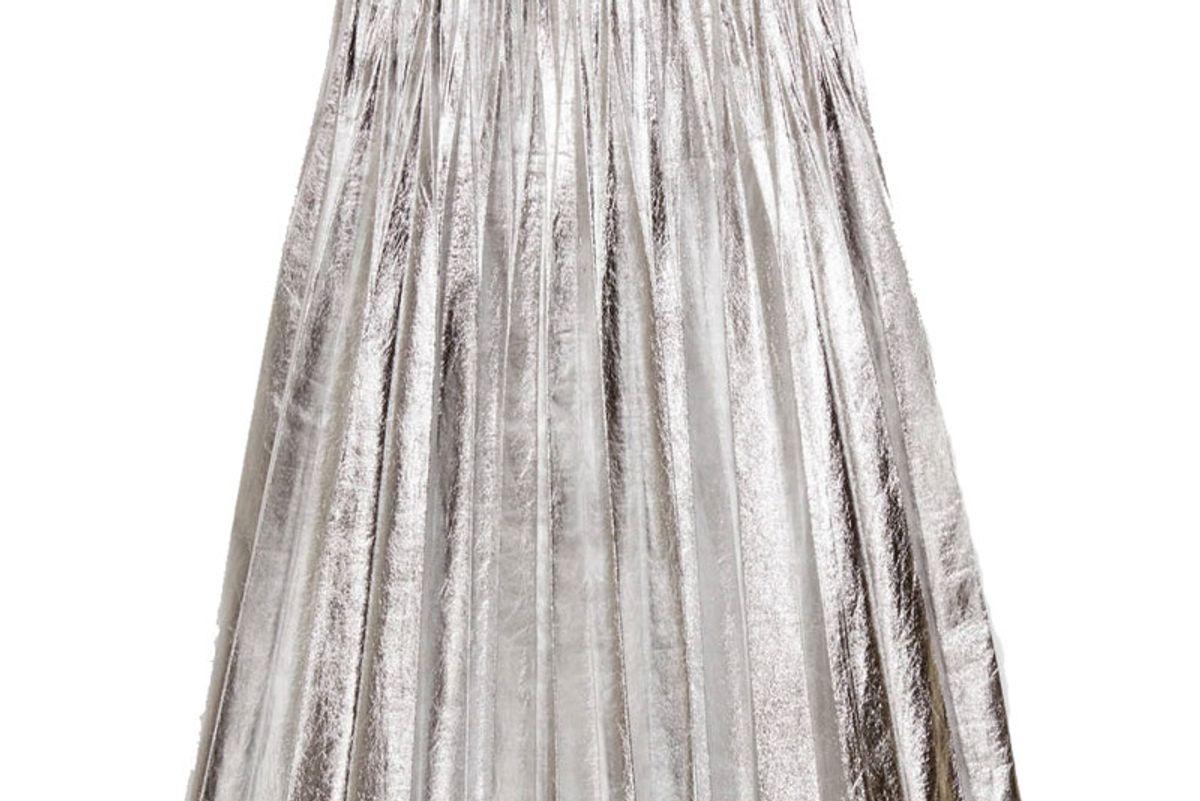 Metallic Leather Plisse' Skirt