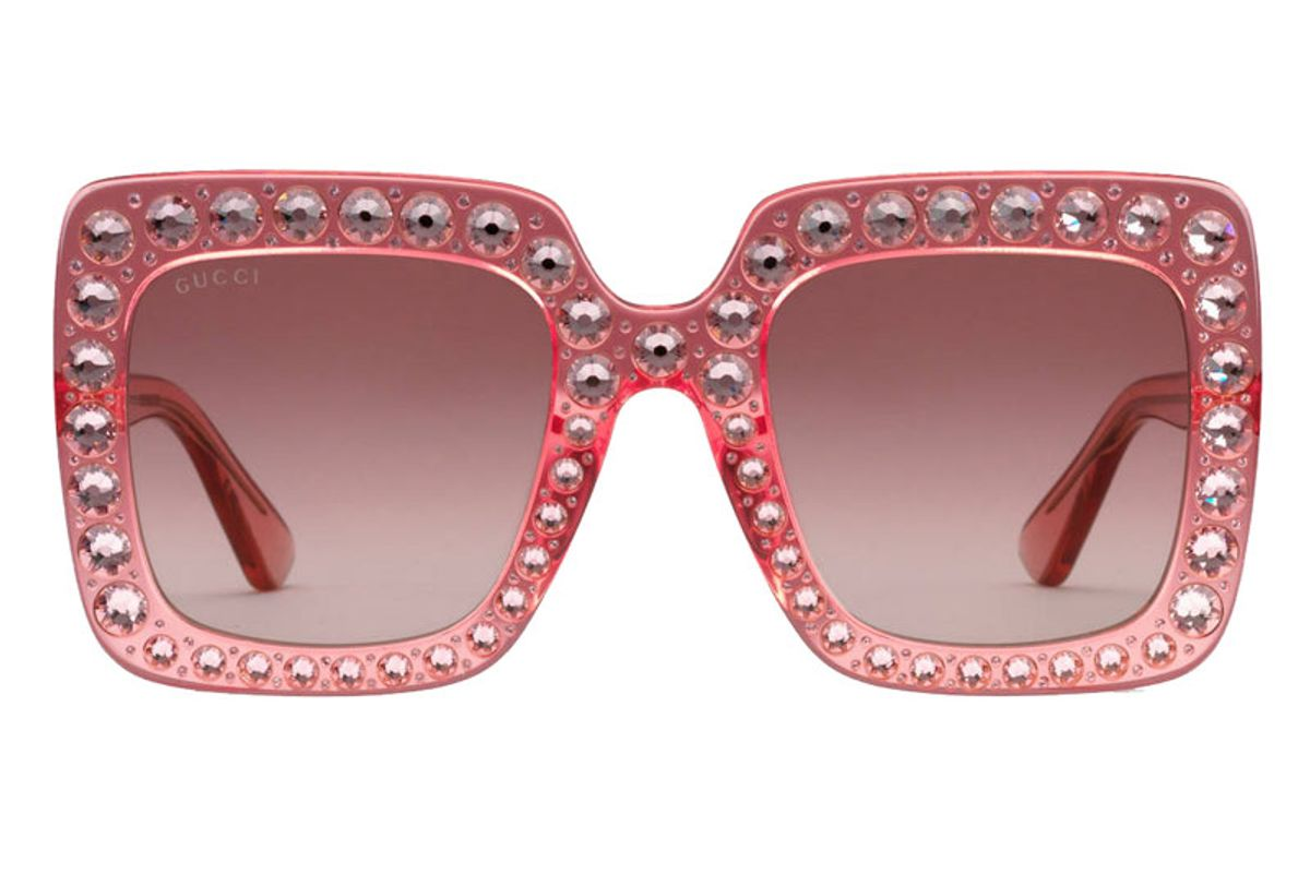 Oversized Square-Frame Acetate Sunglasses with Crystals