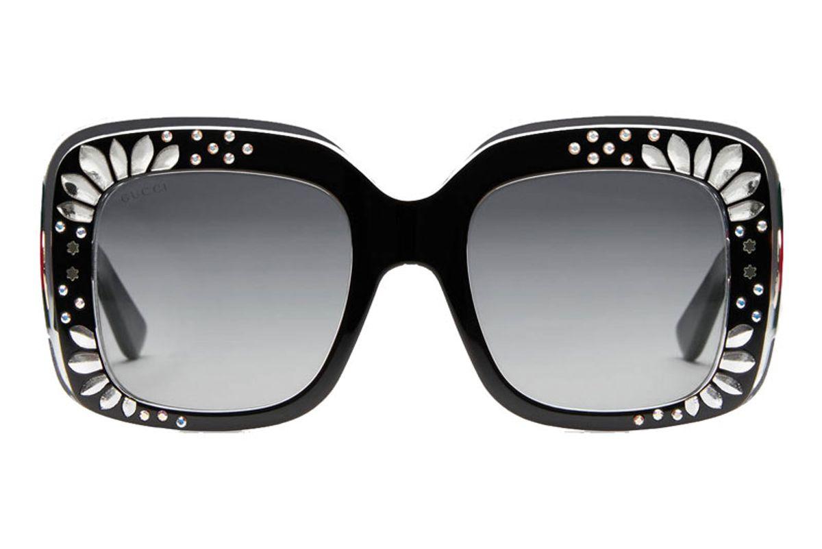 Oversized Square-Frame Rhinestone Sunglasses