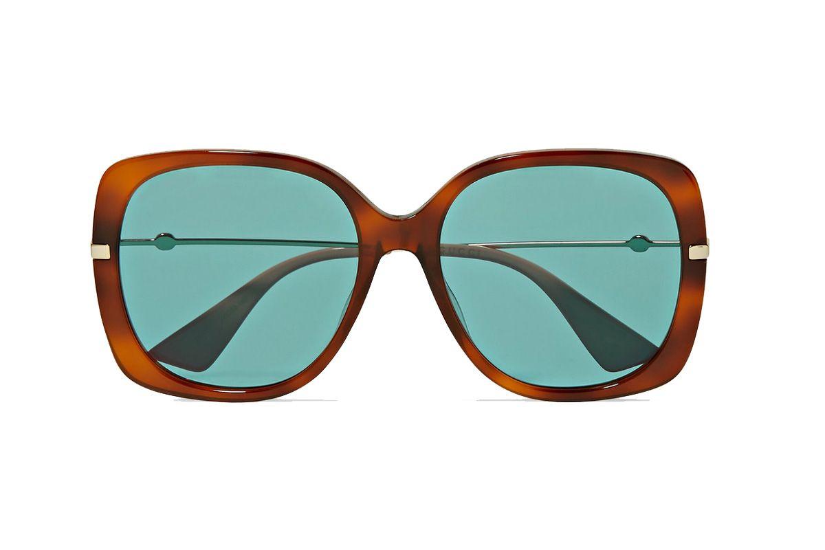 gucci oversized square frame tortoiseshell acetate and gold tone sunglasses