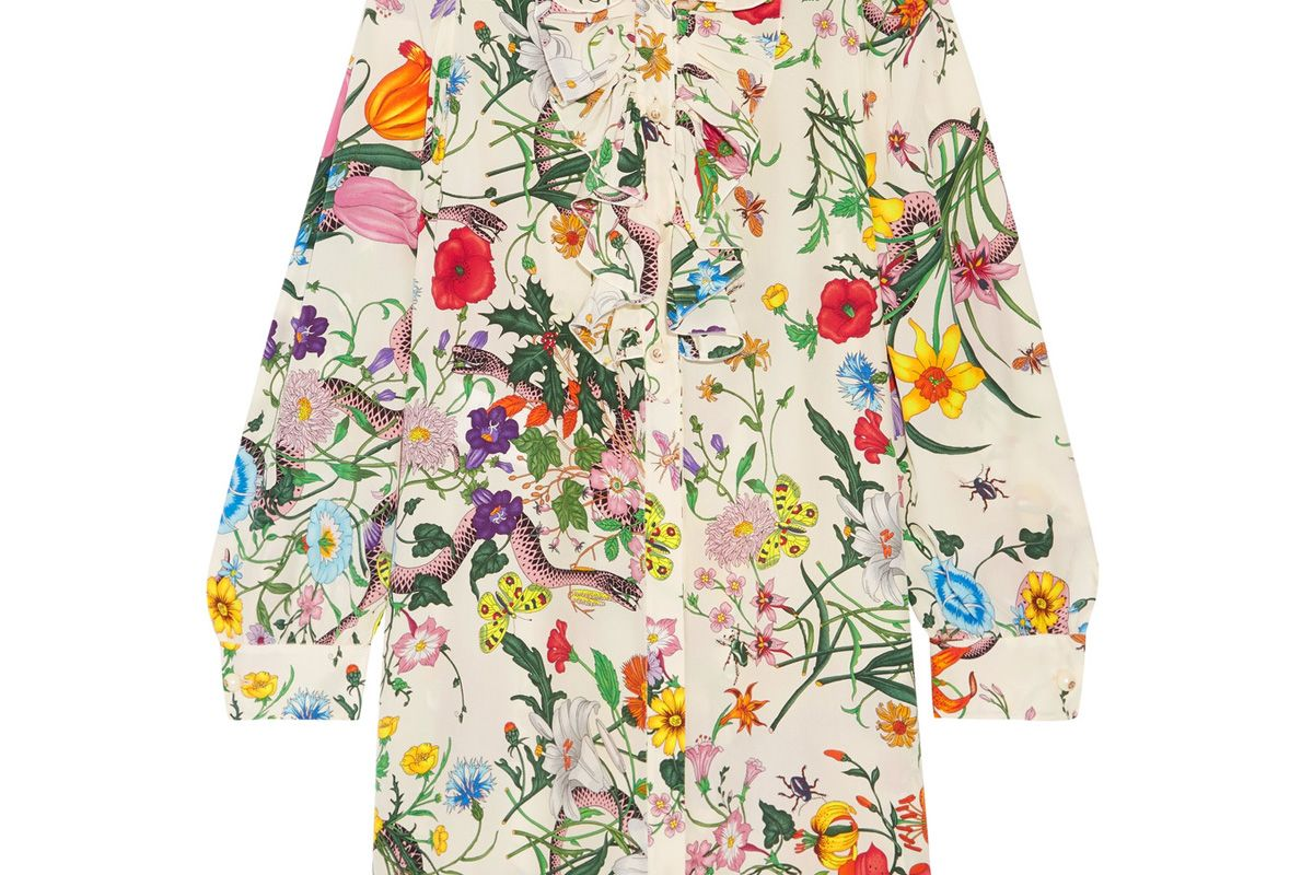 Ruffled Printed Silk Crepe de Chine Mini Dress