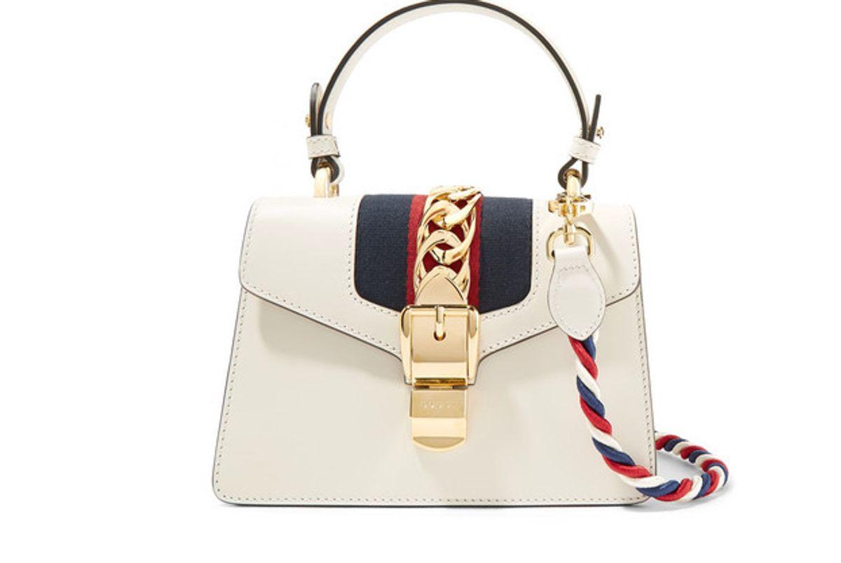 gucci sylvie mini chain embellished leather shoulder bag