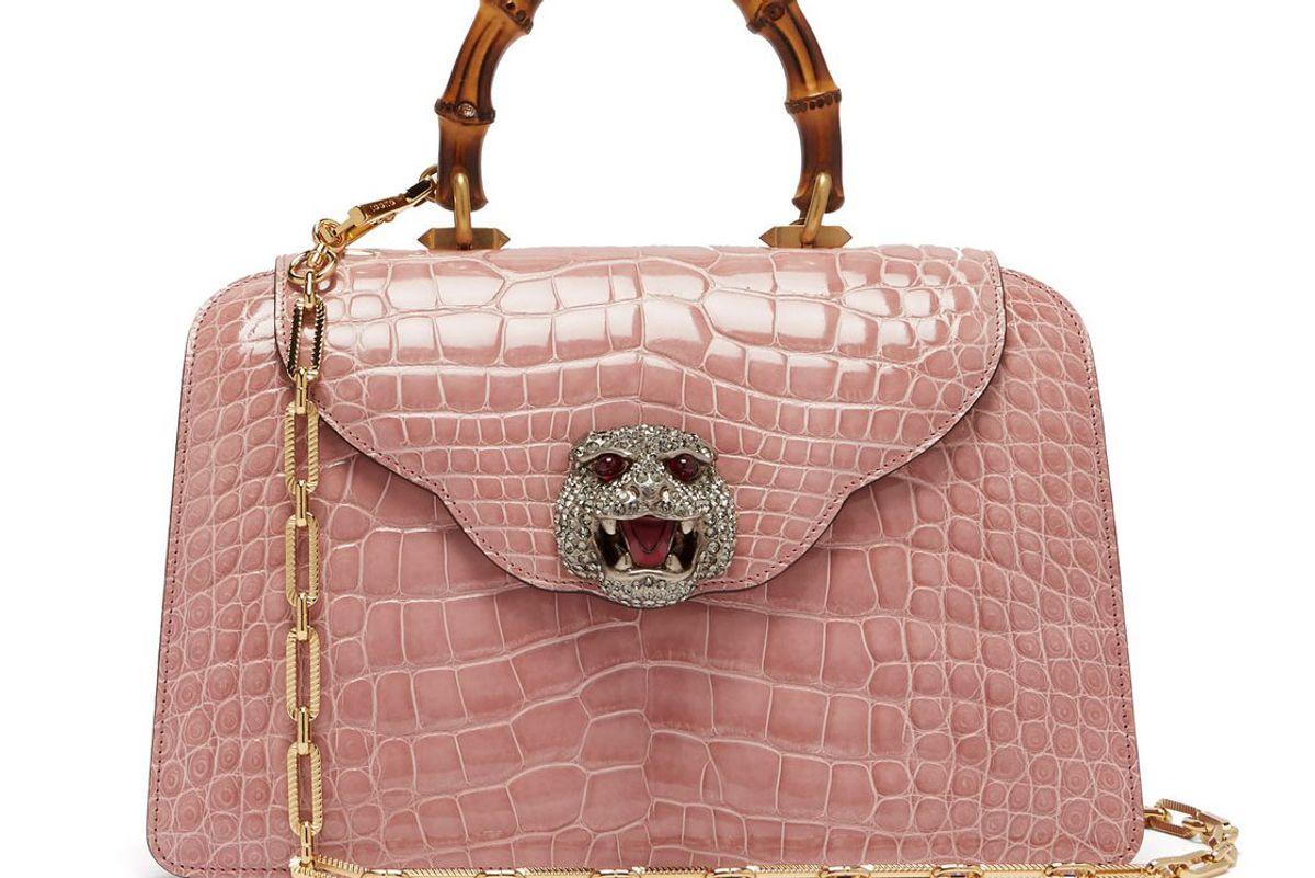 gucci thiara bamboo handle crocodile leather bag