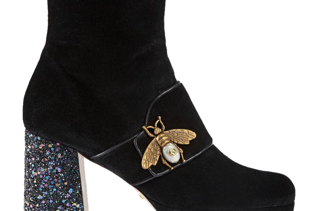 Velvet Ankle Boot with Bee