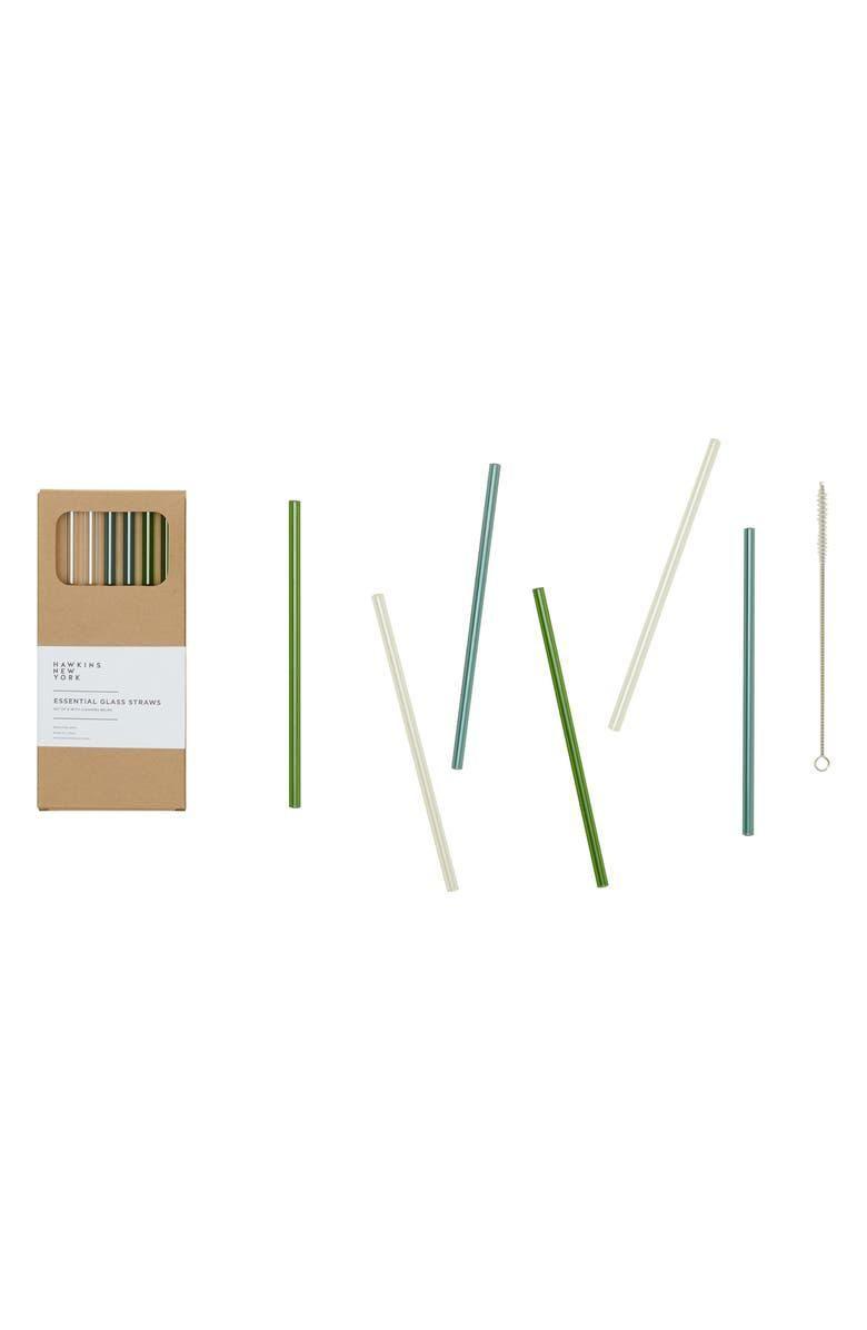 hawkins new york set of 6 essential glass straws