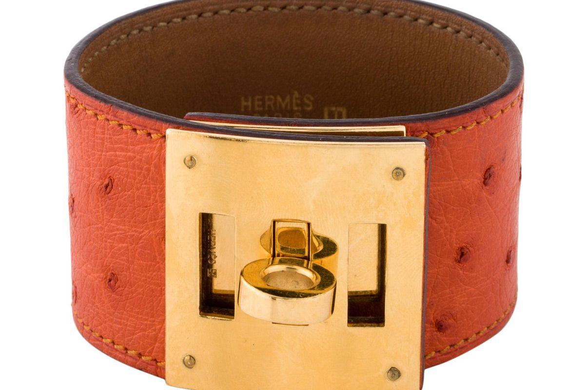 hermes ostrich kelly dog bracelet