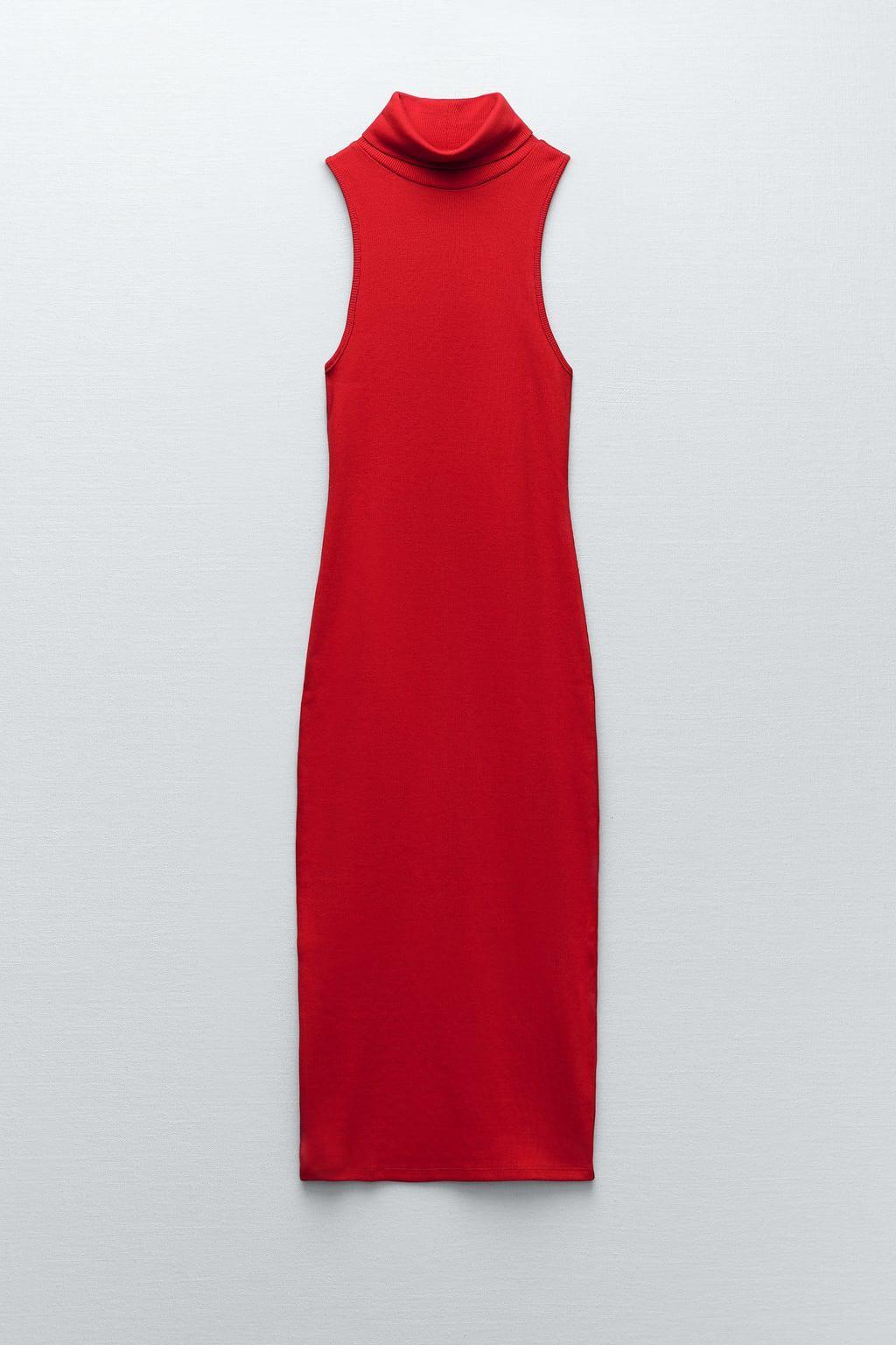 high collar rib dress