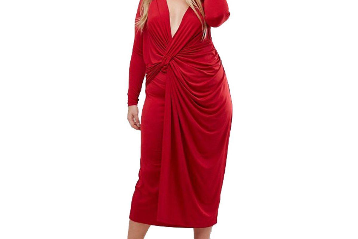 Curve Plunge Twist Front Midi Dress