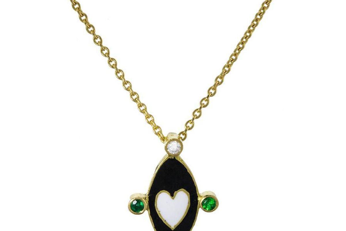 Black and White Enamel Emerald Diamond Go Lightly Pendant