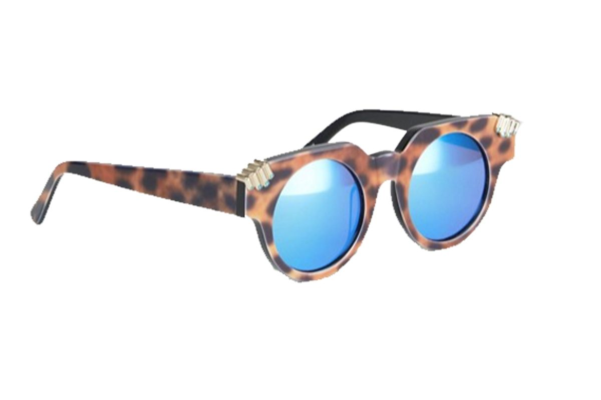 House of Holland Fister Round Sunglasses with Blue Mirror Lens