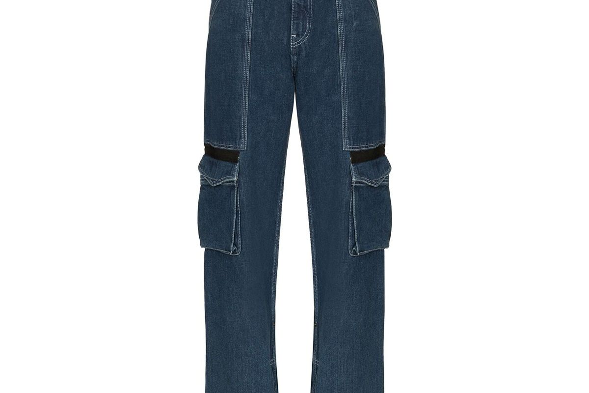 house of holland mid rise cargo pocket straight leg jeans