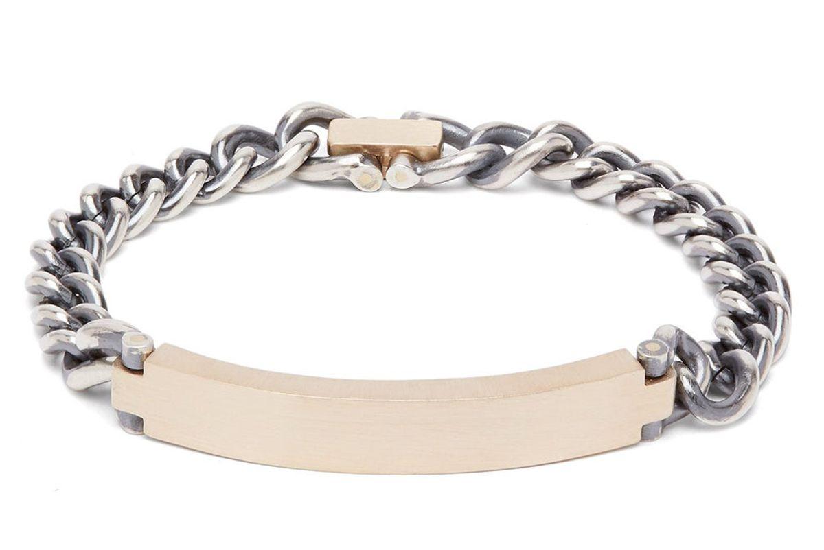 hum brushed gold and sterling silver bracelet