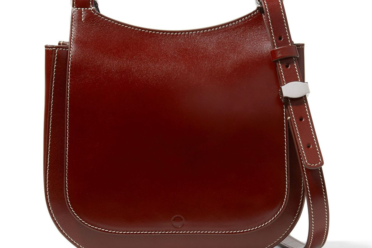 the row hunting 9 patent leather shoulder bag