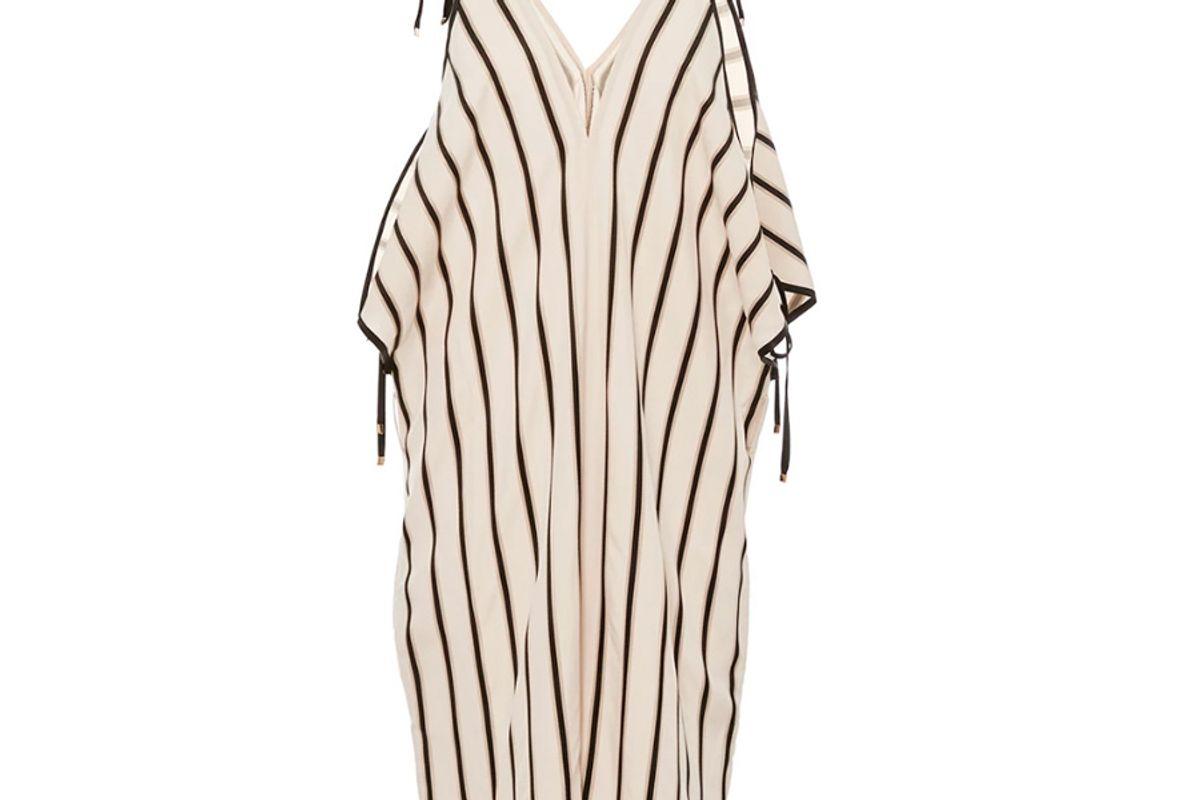 Open Shoulder Striped Romper