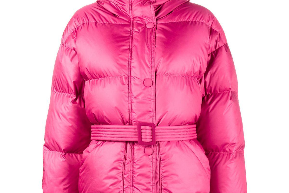 ienki ienki pink michelin belted puffer jacket with hood