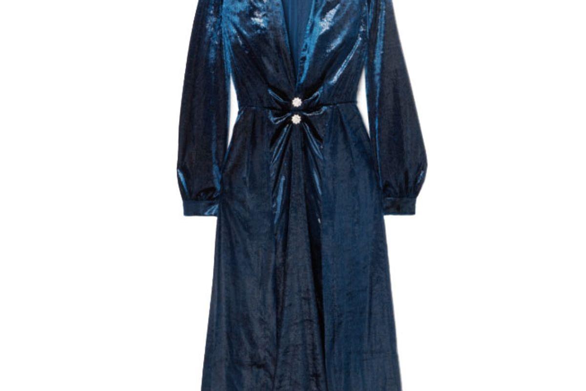 raquel diniz christy crystal embellished metallic velvet midi dress