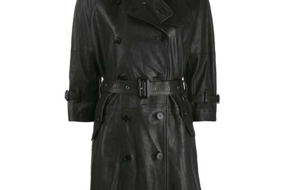 r13 black leather three quarter sleeve trench jacket