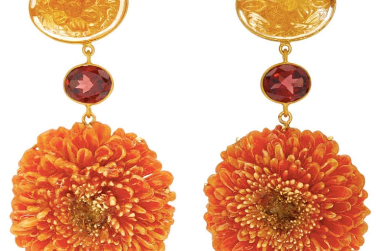 Dalia 18K Gold, Citrine And Garnet Earrings