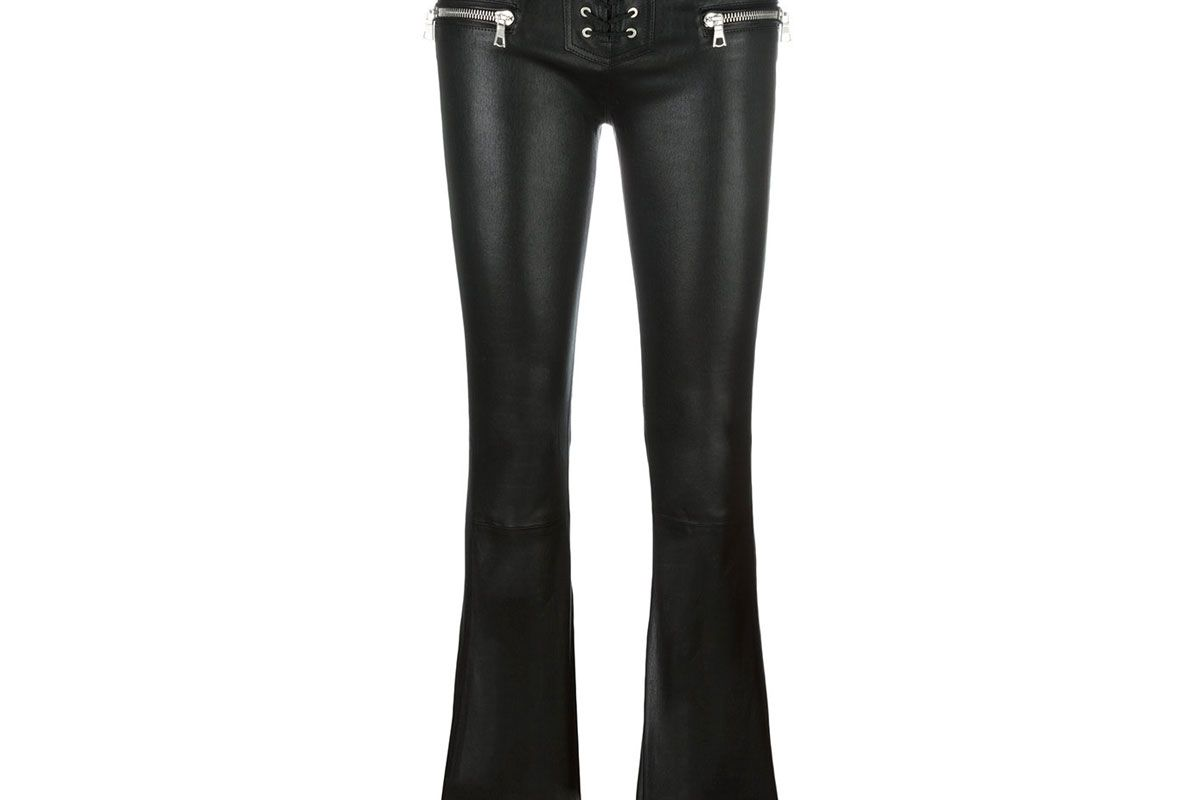 Flared Leather Trousers