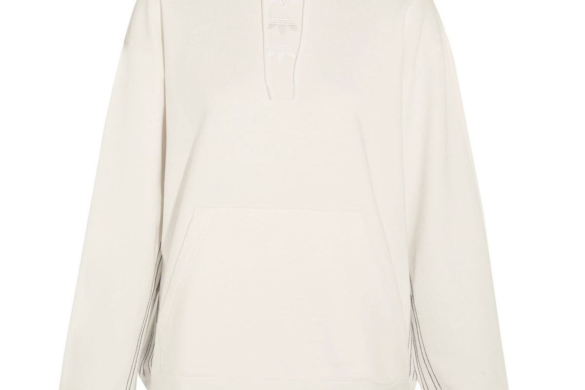 By Alexander Wang Logo Appliquéd Embroidered Cotton-Jersey Hooded Top