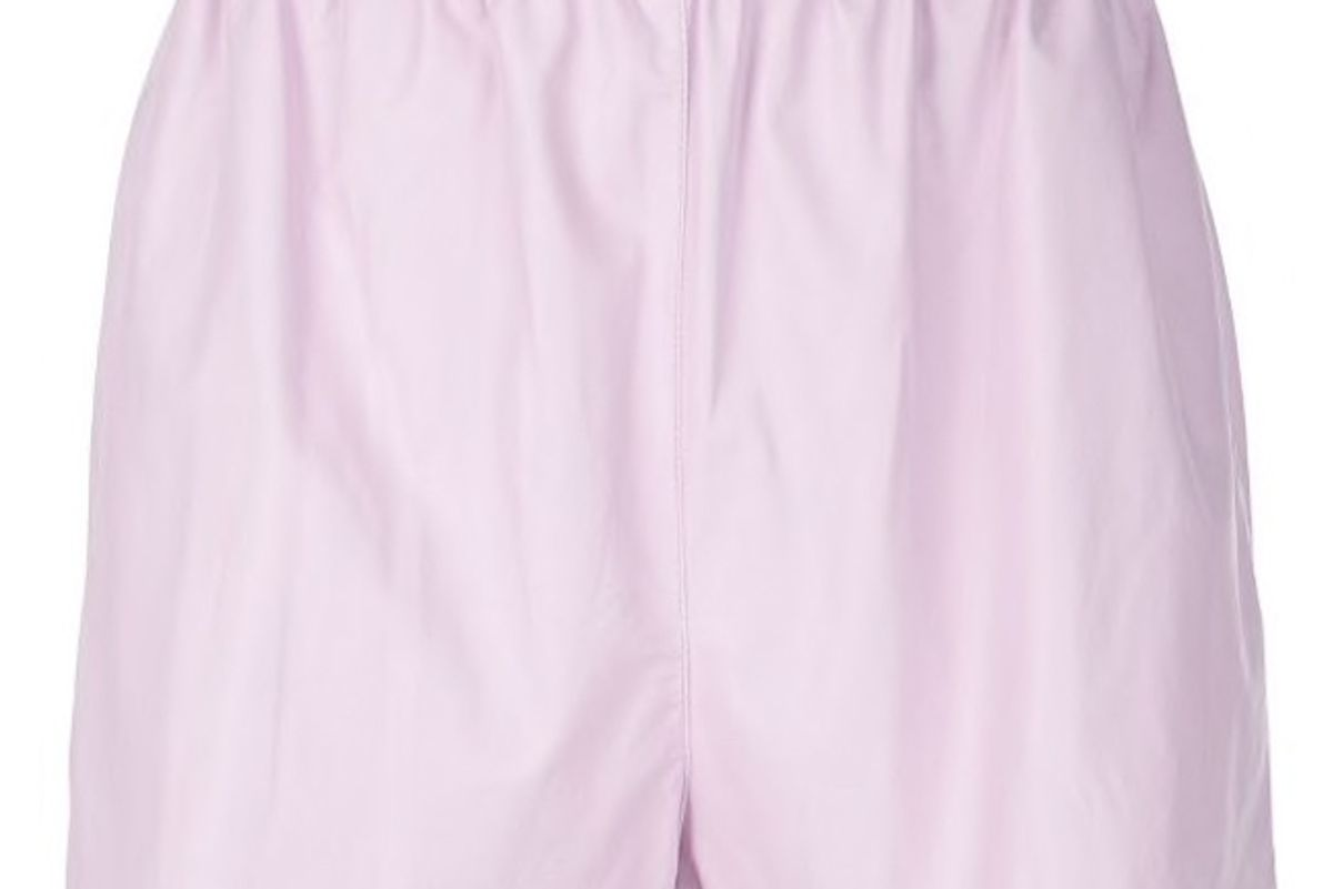 tibi tissue faux leather pull on shorts