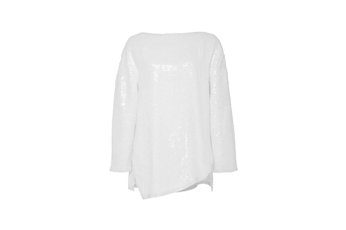 White Sequin Baseball T-Shirt