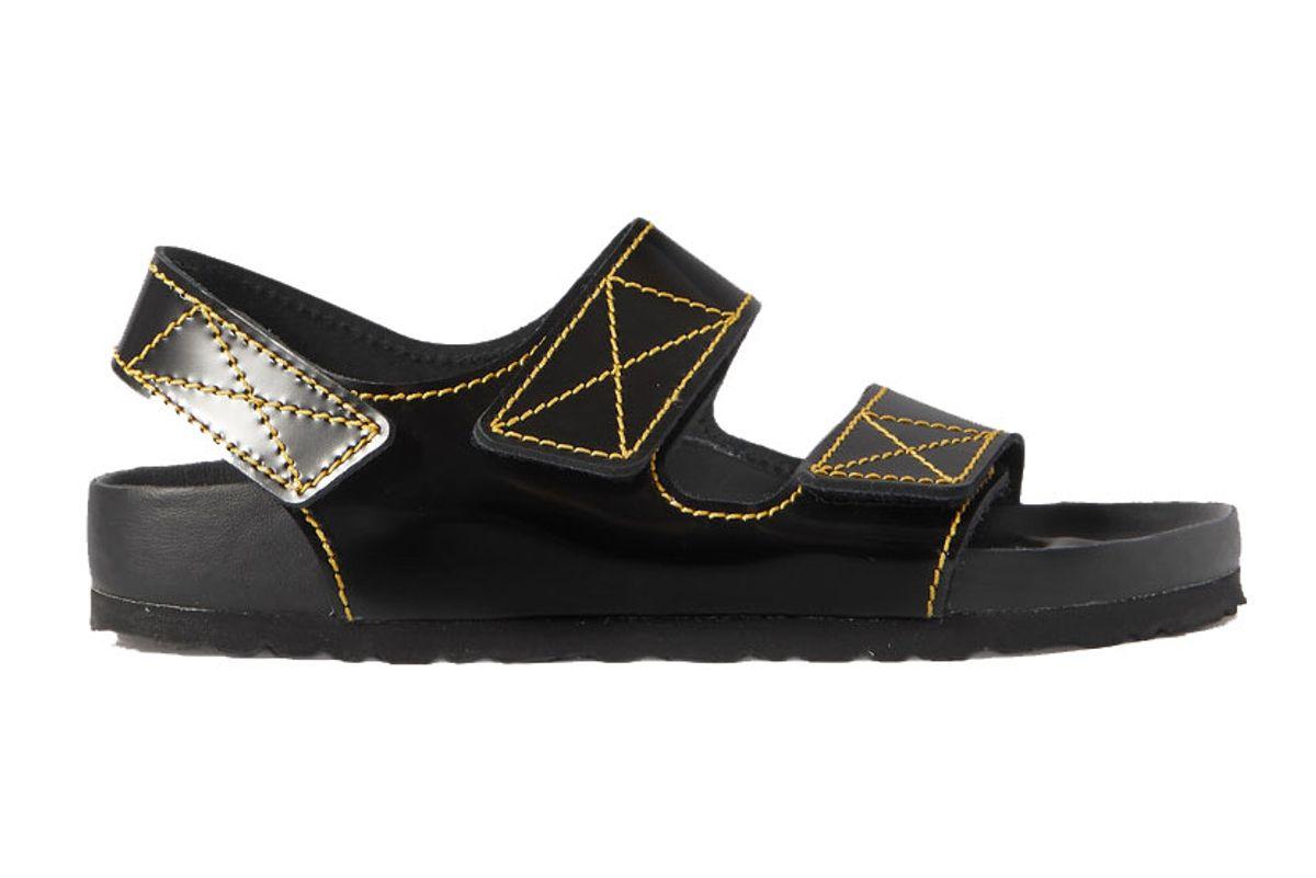 proenza schouler birkenstock milano topstitched gloss leather slingback sandals